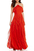 Kay Unger Halter Ruffle Chiffon Gown