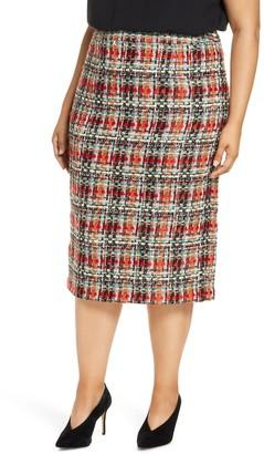 Halogen Tweed Pencil Skirt (Plus Size)