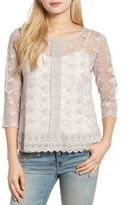 Hinge Women's Embroidered Mesh Top