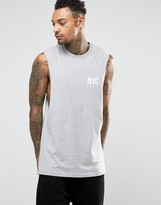 Asos Longline Sleeveless T-shirt With Nyc Print And Dropped Armhole