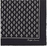 Ralph Lauren Purple Label Men's Rustic Diamond-Print Pocket Square-BLACK