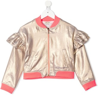 Kenzo Kids Ruffled Contrast-Trimmed Bomber Jacket