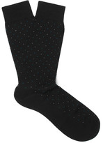 Pantherella Regent Pin-Dot Cotton-Blend Socks