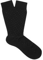 Pantherella Regent Pin-Dot Cotton-Blend Socks