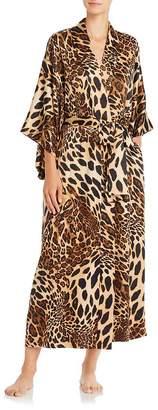 Natori Long Leopard-Print Satin Robe