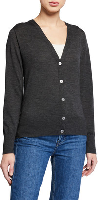 Majestic V-Neck Button-Front Long-Sleeve Cardigan