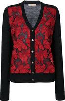 Tory Burch embroidered cardigan - women - Polyester/Merino - XS
