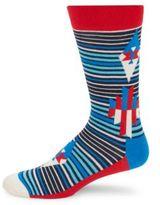Happy Socks Printed Cotton-Blend Mid-Calf Socks