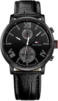 Tommy Hilfiger Men's Sophisticated Sport Black Leather Strap Watch 44mm 1791310
