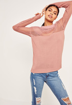 Missguided Pink Open Stitch Sweater