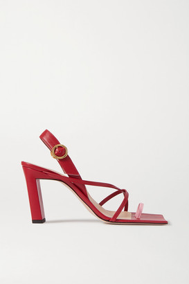 Wandler Elza Two-tone Leather Slingback Sandals - Red