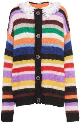 Miu Miu Lace Collar Striped Cardigan