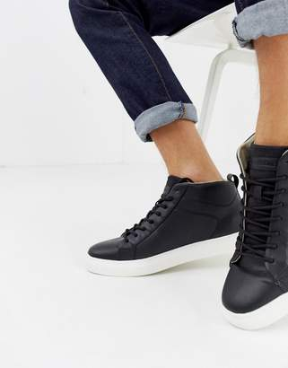 Jack and Jones high top sneaker with contrast sole-Black