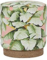 Kim Salmela Pepper Stool - Blush Palm frame, natural; upholstery, green/blush