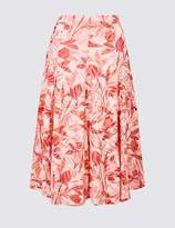 Marks and Spencer Cotton Blend Floral Print Full Midi Skirt
