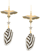 Roberto Cavalli bird feather pendant earrings