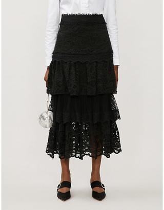 Alexis Atropos high-waist tiered floral-lace midi skirt