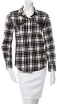 IRO Leather-Accented Plaid Top