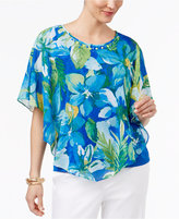 Alfred Dunner Corsica Floral-Print Beaded Poncho Top