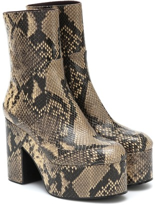 Dries Van Noten Snake-effect leather platform boots