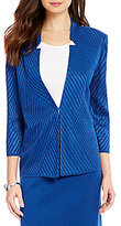 Ming Wang Solid Textured Notch Collar Jacket