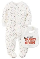 Carter's My First Thanksgiving 9M 2-Piece Footie and Bib in Ivory
