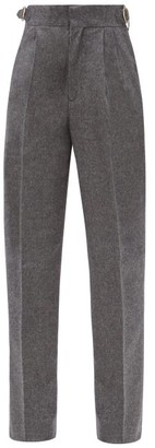 Umit Benan B+ - High-rise Pleated Camel Tapered Trousers - Grey