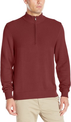 Izod Men's Durham Quarter Zip Textured Marled 7 Guage Sweater