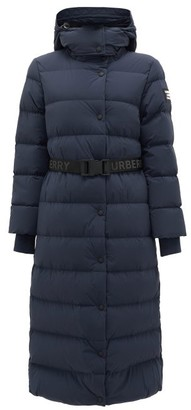 Burberry Eppingham Belted Quilted Down Coat - Navy