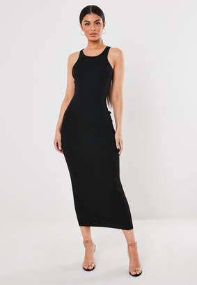 Missguided Black Racer Neck Knitted Maxi Dress