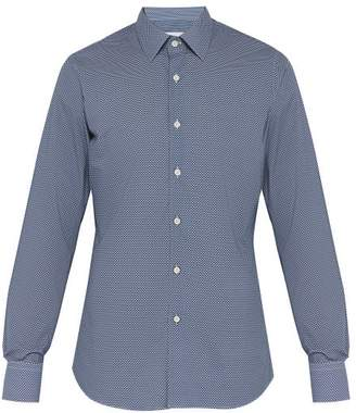 Prada Geometric-print Cotton Poplin Shirt - Mens - Blue Multi