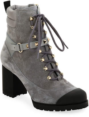 Valentino Garavani Rockstud Lace-Up Water-Resistant Hiking Boots