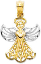 Macy's 14k Gold and Sterling Silver Charm, Filigree Angel Charm