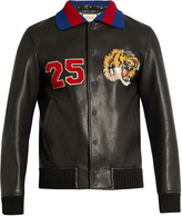 Gucci Tiger-appliqué leather bomber jacket