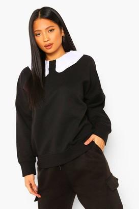 boohoo Petite Ruffle Peter Pan Collar Oversized Sweatshirt