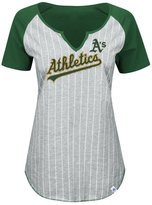 Majestic Women's Oakland Athletics From The Stretch Pinstripe T-Shirt