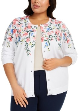 Karen Scott Plus Size Floral-Print Cardigan Sweater, Created for Macy's