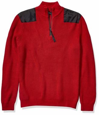 Kenneth Cole Men's Long Sleeve Half Zip Mock Neck Sweater