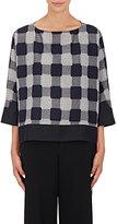 Giorgio Armani Women's Plaid Wool Oversized Top-NAVY