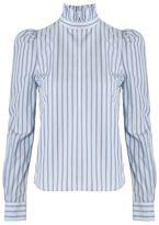 Frame Ruffle Neck Poplin Shirt Evening Blue Multi