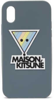 MAISON KITSUNÉ Rainbow Triangle-logo Iphone X Case - Blue Multi