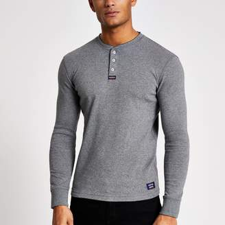 Superdry Mens River Island Grey grandad collar T-shirt