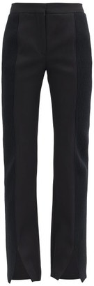 Burberry Ribbed-panel Flared Wool-barathea Suit Trousers - Black