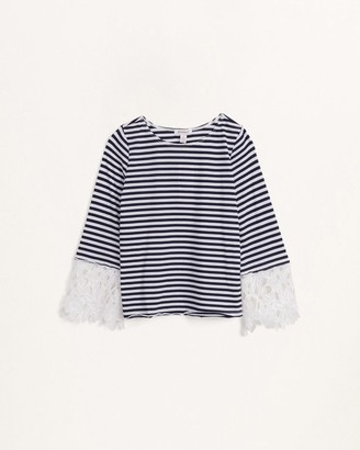 Splendid Girls Striped Top with Lace Sleeves