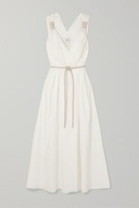 Nanushka Lilith Vegan Leather-trimmed Cotton-poplin Maxi Dress - Ecru