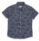 Sovereign Code Boy's Hull Shark-Print Short Sleeve Cotton Shirt