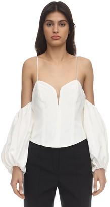 For Love & Lemons Celeste Moire Top W/ Detachable Sleeves