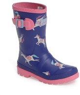 Joules Girl's Mid Height Print Welly Rain Boot