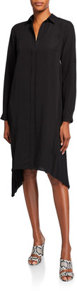 Halston Long-Sleeve Side-Pleated Shirtdress