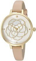 Kate Spade Women's 'Metro' Quartz Stainless Steel and Leather Casual Watch, Color:Beige (Model: KSW1207)